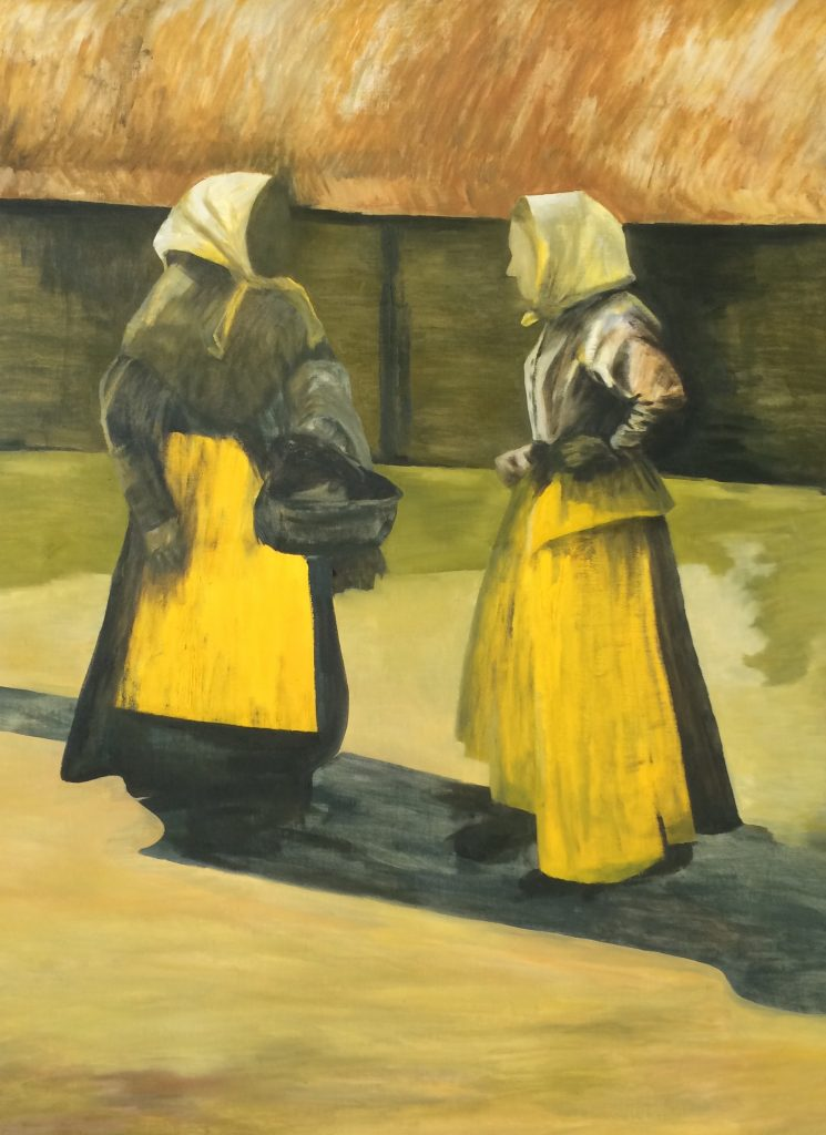 Samtal mellan två kvinnor. Måleri